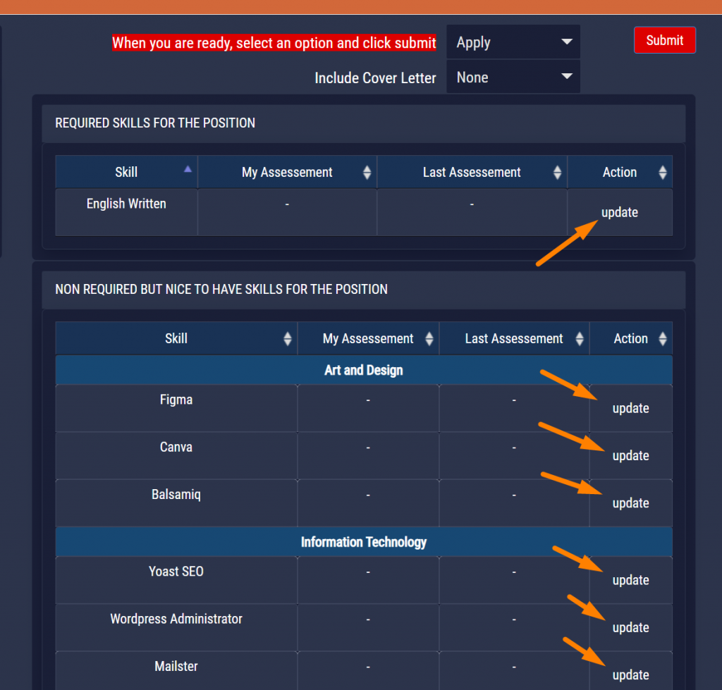 SkillsCharts   Update Skills